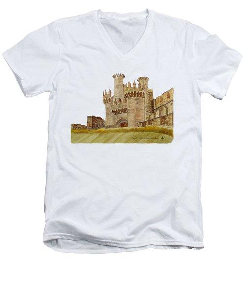 Ponferrada Templar Castle  Men's V-Neck T-Shirt by Angeles M Pomata