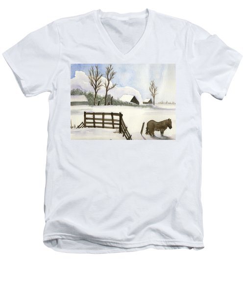 Men's V-Neck T-Shirt featuring the painting Pony In The Snow by Annemeet Hasidi- van der Leij
