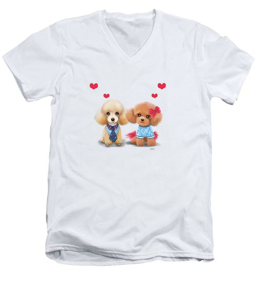 Poodles Are Love Men's V-Neck T-Shirt by Catia Cho