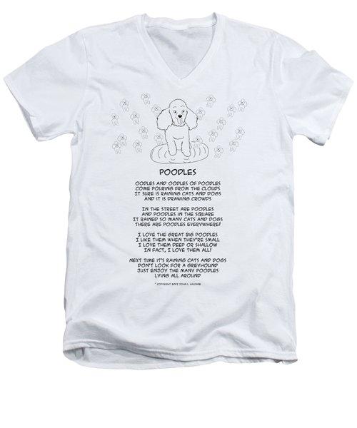 Men's V-Neck T-Shirt featuring the drawing Poodles by John Haldane