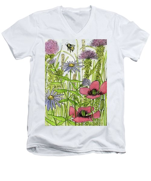 Poppies And Wildflowers Men's V-Neck T-Shirt