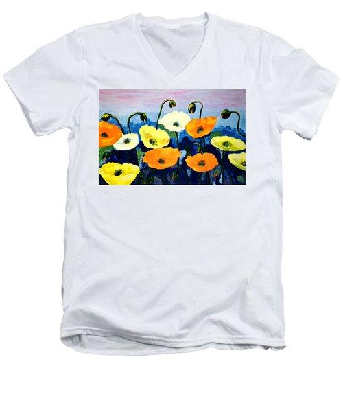 Poppies In Colour Men's V-Neck T-Shirt