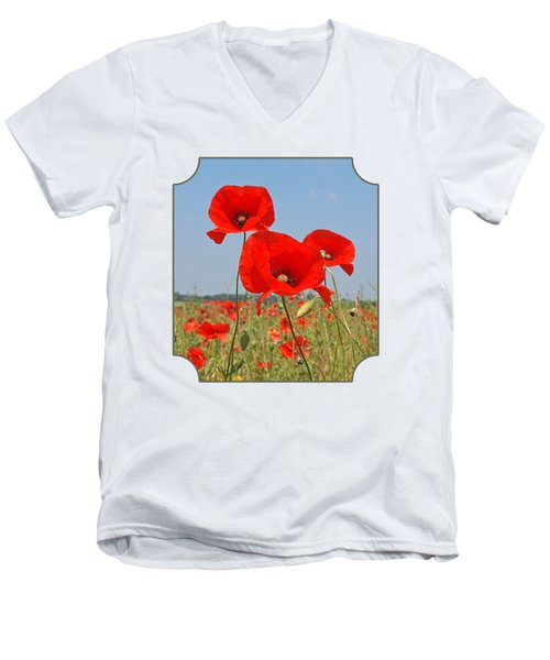 Poppy Fields 4 Men's V-Neck T-Shirt