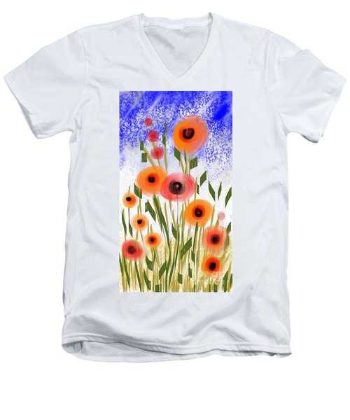 Poppy Garden Men's V-Neck T-Shirt by Elaine Lanoue