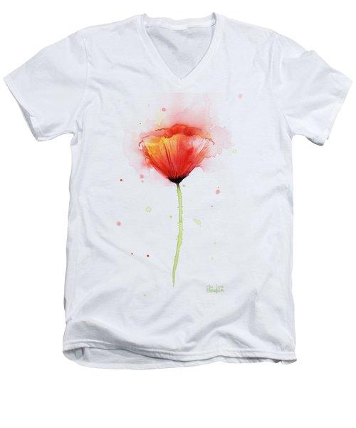 Poppy Watercolor Red Abstract Flower Men's V-Neck T-Shirt