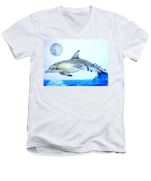Men's V-Neck T-Shirt featuring the drawing Porpoise by Mayhem Mediums