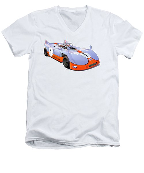 porsche 908 GULF illustration Men's V-Neck T-Shirt