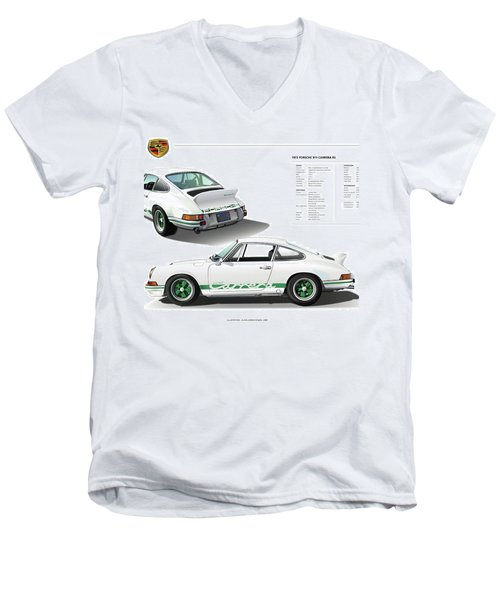 Porsche 911 Carrera Rs Illustration Men's V-Neck T-Shirt by Alain Jamar