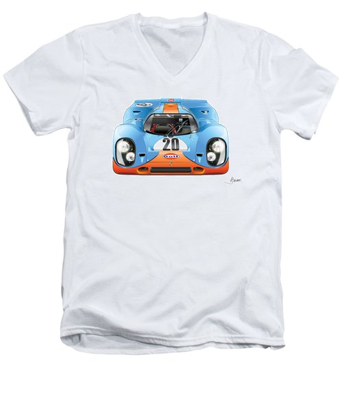 Porsche 917 Gulf On White Men's V-Neck T-Shirt by Alain Jamar