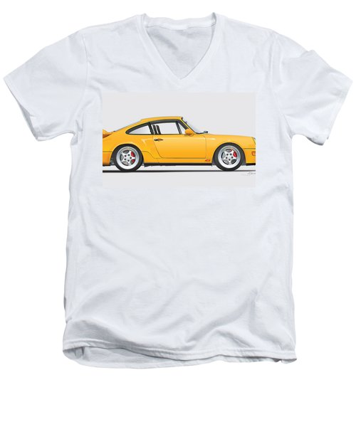 Porsche 964 Carrera Rs Illustration In Yellow. Men's V-Neck T-Shirt
