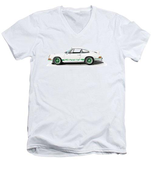 Porsche Carrera Rs Illustration Men's V-Neck T-Shirt by Alain Jamar