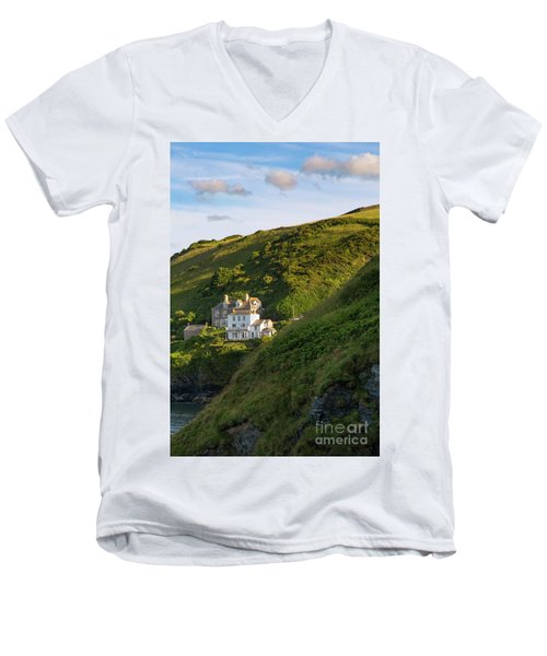 Men's V-Neck T-Shirt featuring the photograph Port Isaac Homes by Brian Jannsen
