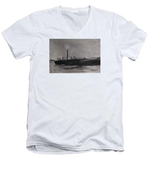 Port Talbot Steel Works Men's V-Neck T-Shirt by Carole Robins