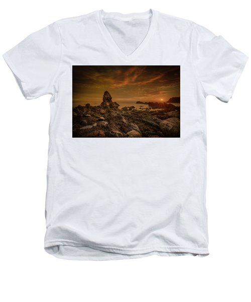 Porth Saint Beach At Sunset. Men's V-Neck T-Shirt