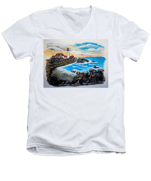 Porthead Lighthouse Maine In Watercolors Men's V-Neck T-Shirt