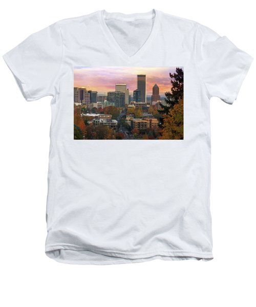 Portland Downtown Cityscape During Sunrise In Fall Men's V-Neck T-Shirt