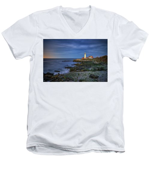 Men's V-Neck T-Shirt featuring the photograph Portland Head Aglow by Rick Berk