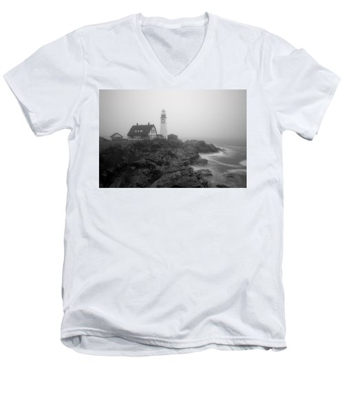 Portland Head Lighthouse In Fog Black And White Men's V-Neck T-Shirt