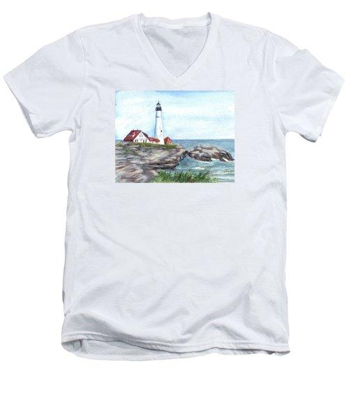 Portland Head Lighthouse Maine Usa Men's V-Neck T-Shirt by Carol Wisniewski
