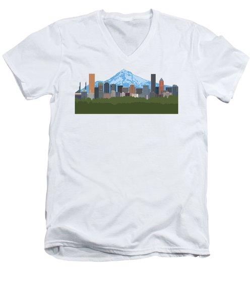 Portland Oregon Skyline Color Illustration Men's V-Neck T-Shirt
