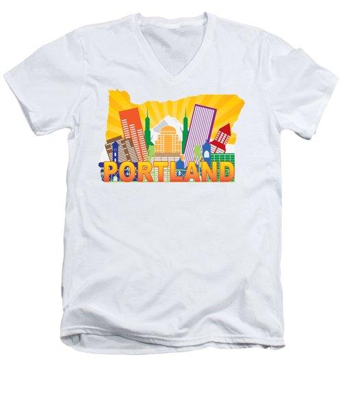Portland Oregon Skyline In State Map Men's V-Neck T-Shirt