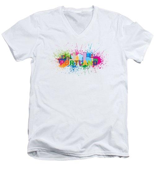 Portland Oregon Skyline Paint Splatter Text Illustration Men's V-Neck T-Shirt