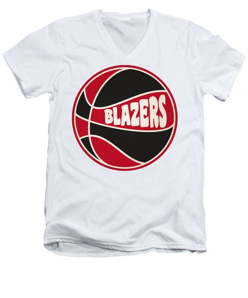 Men's V-Neck T-Shirt featuring the photograph Portland Trail Blazers Retro Shirt by Joe Hamilton