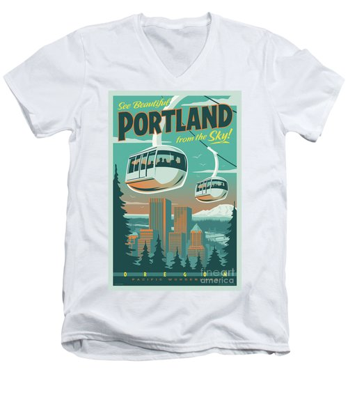 Portland Tram Retro Travel Poster Men's V-Neck T-Shirt