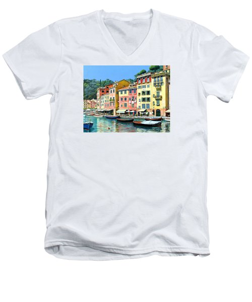 Men's V-Neck T-Shirt featuring the painting Portofino Sunshine 30 X 40 by Michael Swanson
