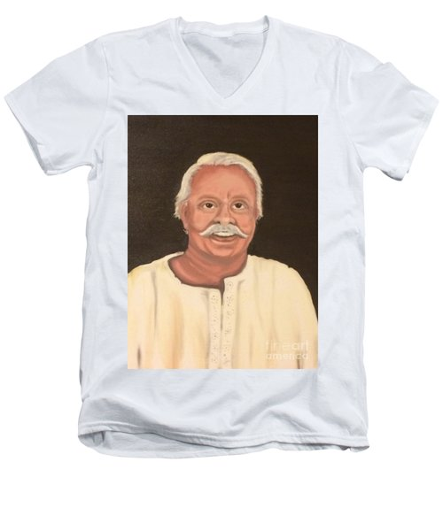 Men's V-Neck T-Shirt featuring the painting Portrait 2 by Brindha Naveen