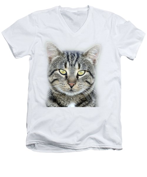 Men's V-Neck T-Shirt featuring the photograph Portrait Of A Cat by George Atsametakis