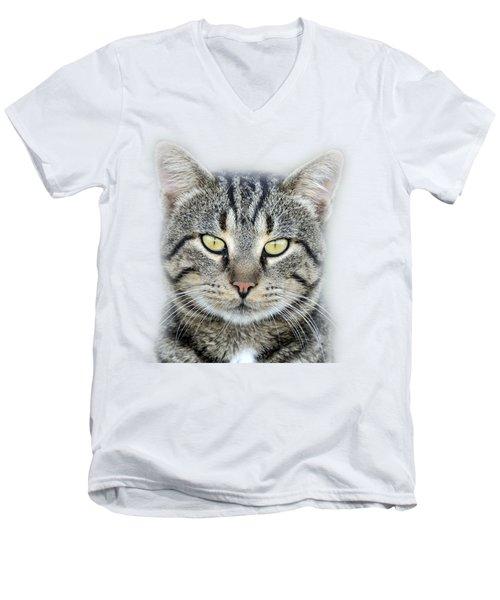 Portrait Of A Cat Men's V-Neck T-Shirt by George Atsametakis