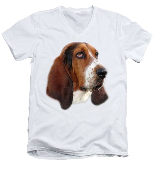 Portrait Of A Dog Men's V-Neck T-Shirt by George Atsametakis