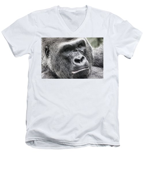 Portrait Of A Gorilla Men's V-Neck T-Shirt