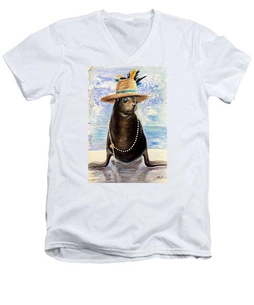Portrait Of A Sea Lion Men's V-Neck T-Shirt