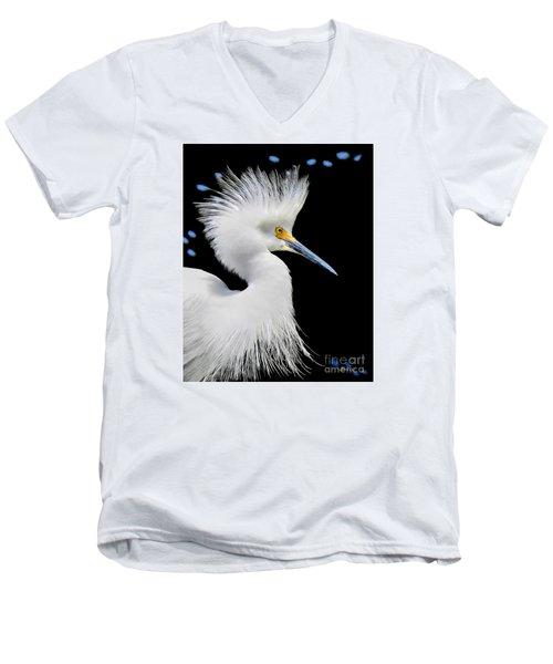 Portrait Of A Snowy White Egret Men's V-Neck T-Shirt by Jennie Breeze