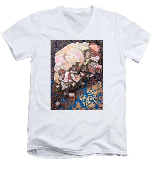 Portrait Of Einstein. Cubes  Men's V-Neck T-Shirt