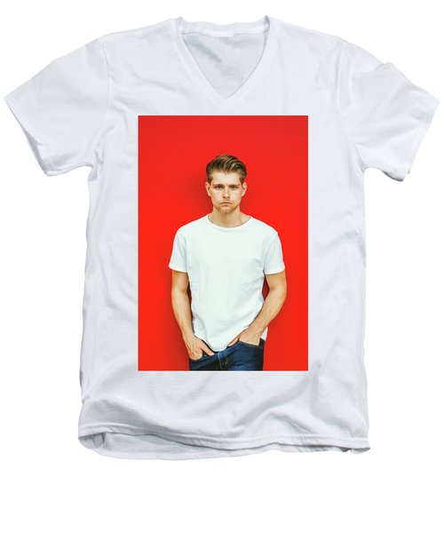 Portrait Of Young Handsome Man Men's V-Neck T-Shirt