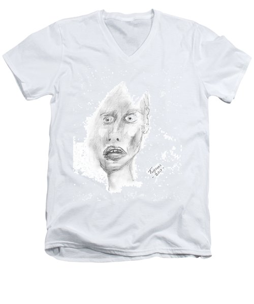 Portrait With Mechanical Pencil Men's V-Neck T-Shirt by Dan Twyman