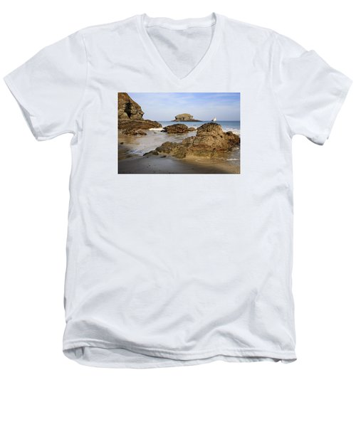Men's V-Neck T-Shirt featuring the photograph Portreath by Shirley Mitchell