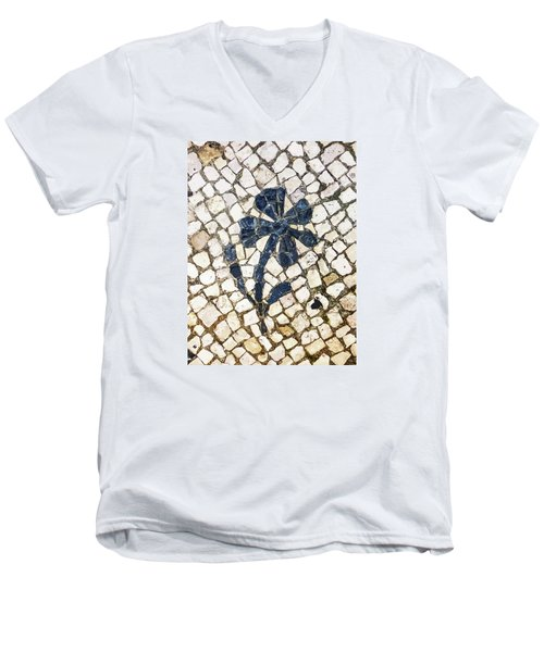 Portuguese Pavement With A Flower Detail Men's V-Neck T-Shirt