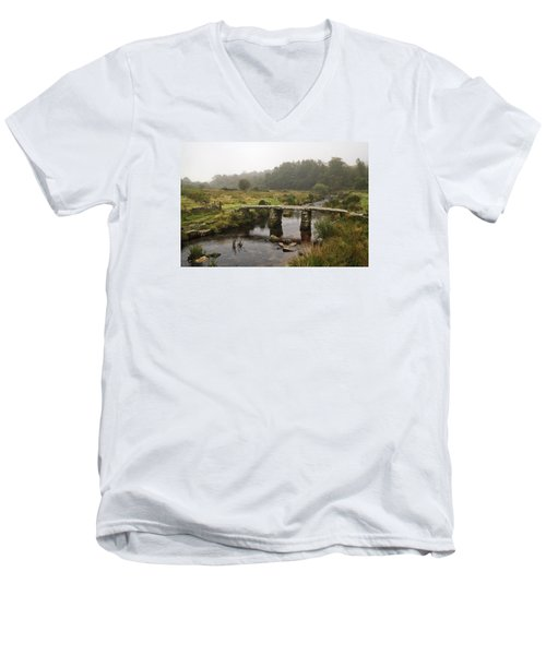 Men's V-Neck T-Shirt featuring the photograph Postbridge Clapper Bridge In Dartmoor  by Shirley Mitchell
