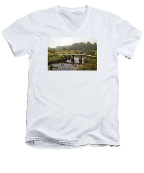 Men's V-Neck T-Shirt featuring the photograph Postbridge Clapper by Shirley Mitchell