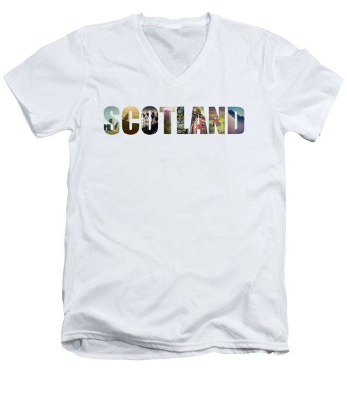 Postcard For Scotland Men's V-Neck T-Shirt by Mr Doomits