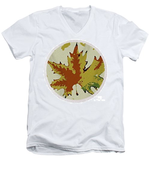 Posterised Autumn Leaf - Round Beach Towel Men's V-Neck T-Shirt