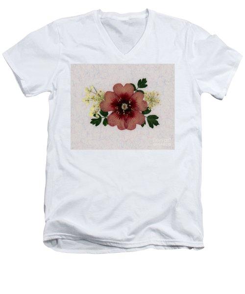 Potentilla And Queen-ann's-lace Pressed Flower Arrangement Men's V-Neck T-Shirt