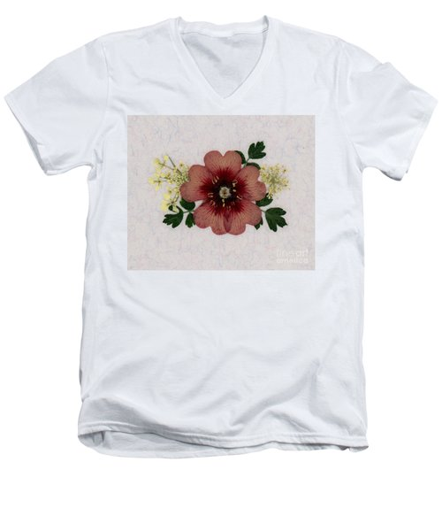 Potentilla And Queen-ann's-lace Pressed Flower Arrangement Men's V-Neck T-Shirt