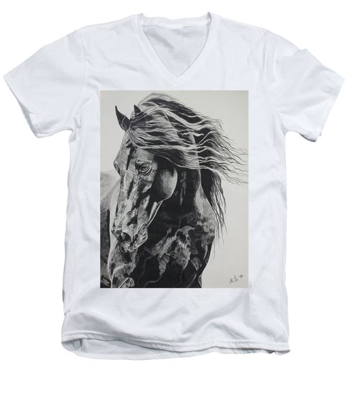 Men's V-Neck T-Shirt featuring the drawing Power Of Horse by Melita Safran