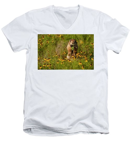 Prairie Dog In Flowers Men's V-Neck T-Shirt