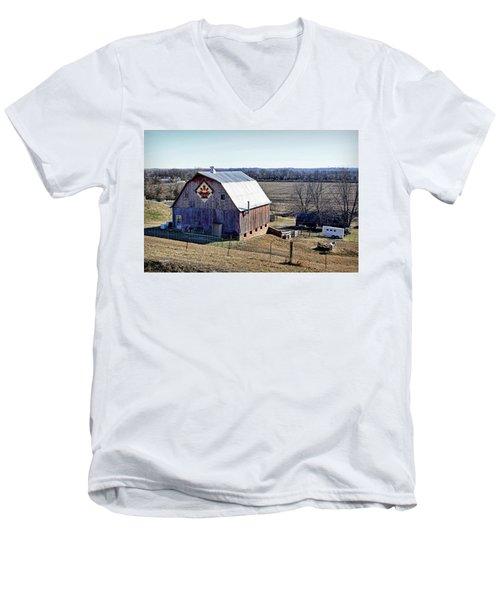 Men's V-Neck T-Shirt featuring the photograph Prairie Flower Quilt Barn by Cricket Hackmann